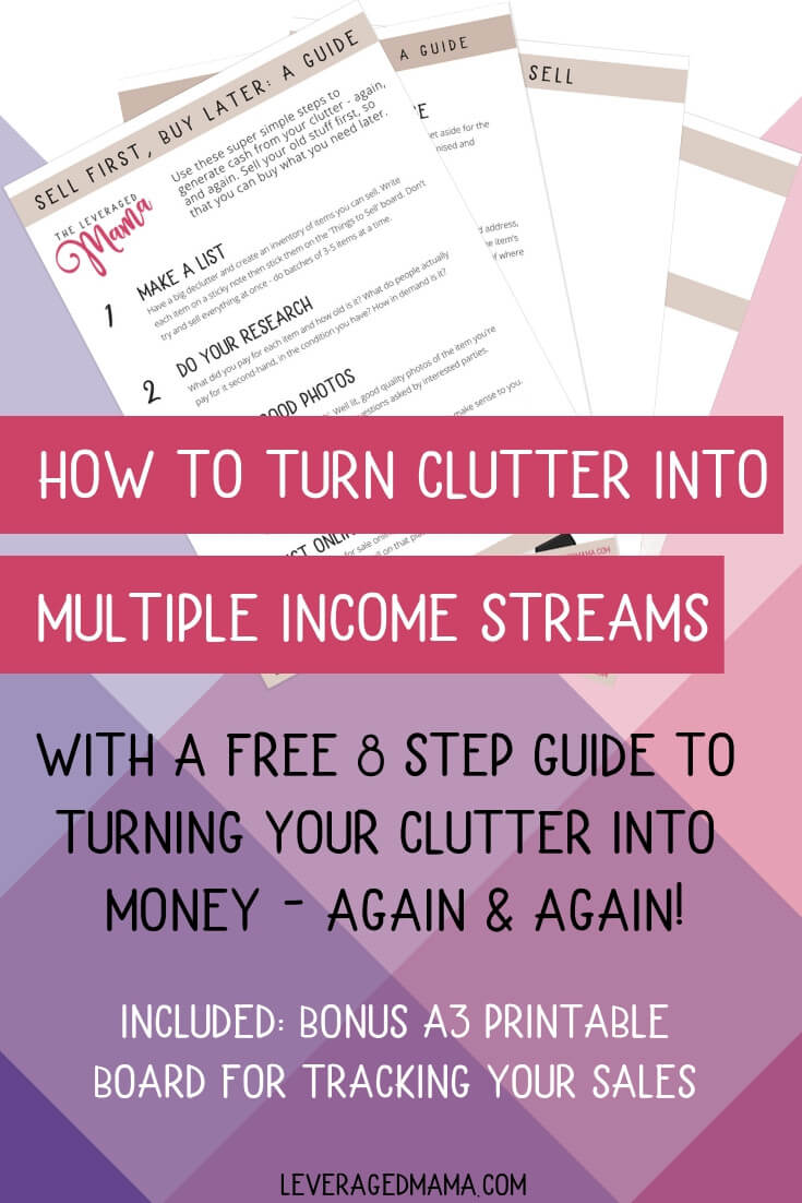 The Leveraged Mama shares how she turned her clutter into multiple streams of income - with a super simple and pretty guide to help you do it yourself! #decluttering #minimalism
