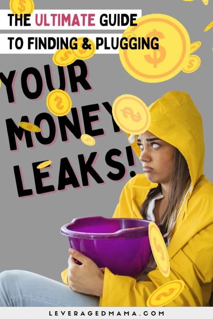 An image of a girl with a bucket and a raincoat, unhappily catching money that is leaking from the ceiling. She has a money leak.